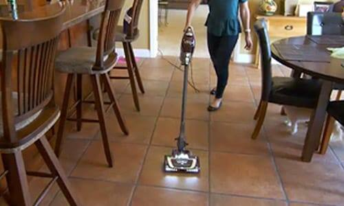 The Shark® Rocket® DeluxePro easily cleans hard floors.